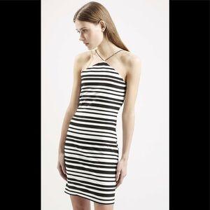 Topshop striped bodycon dress
